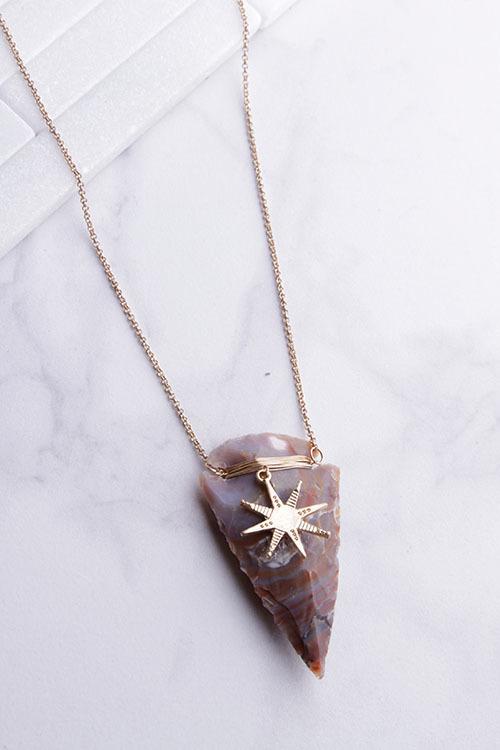 Arrow Starburst Long Pendant Necklace
