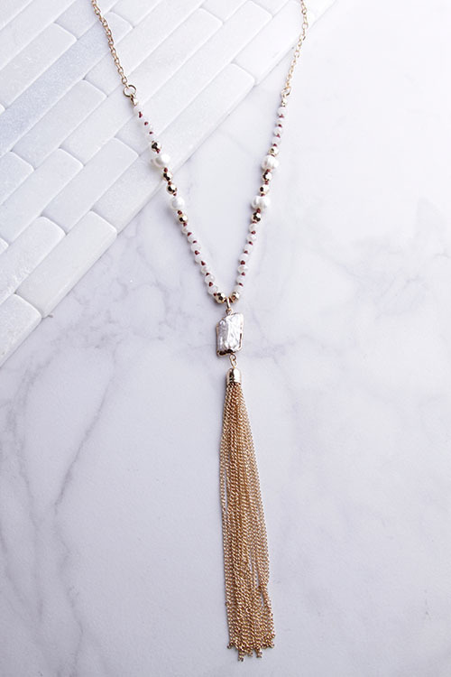 Long Beaded Pearl Necklace With Chain Tassel