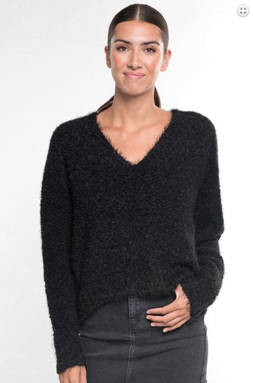 Fuzzy Popcorn V Neck Sweater Black