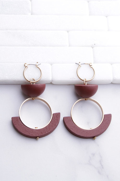 Geo Wood Circle Dangle