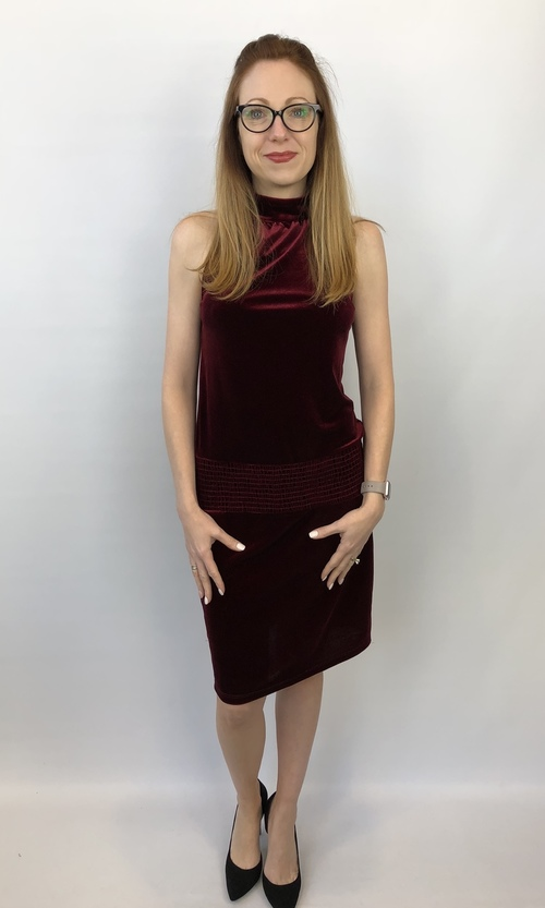 Wine Velvet Sleeveless Dress