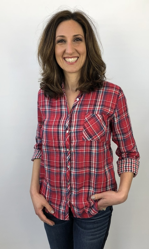 Button Up Long Sleeve Plaid Top Red/Navy