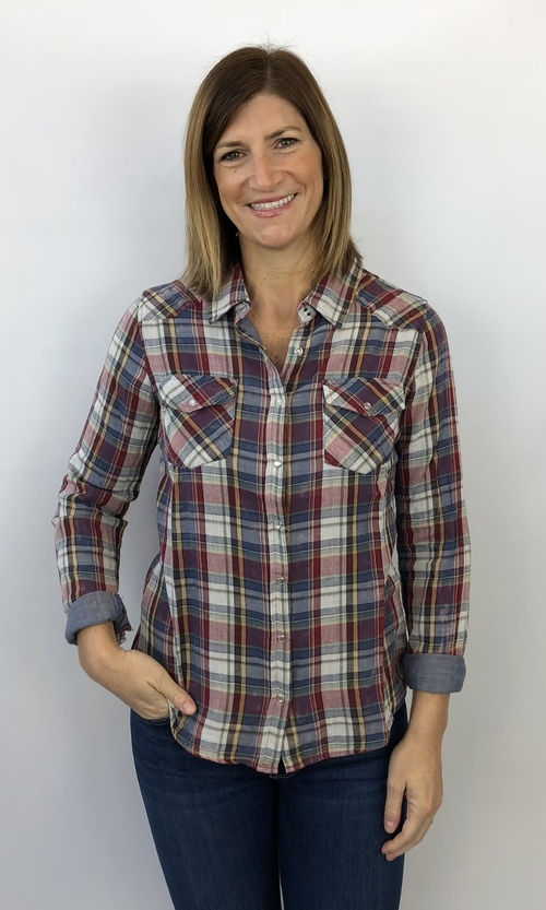 Snap Front Shirt w/ Double Pockets Multi Plaid