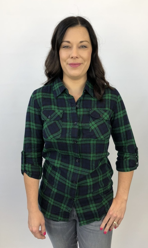 Green & Navy Roll Sleeve Flannel Plaid