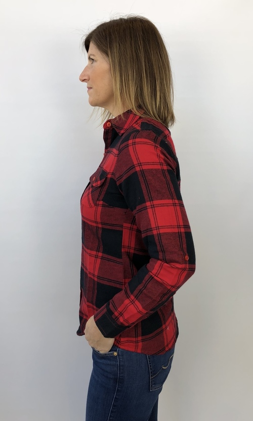 Red & Black Plaid Flannel Button Down Shirt