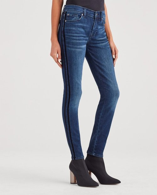 Velvet Side Stripe Ankle Skinny