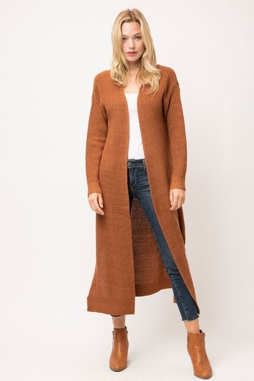 Camel Open Front Duster Cardigan