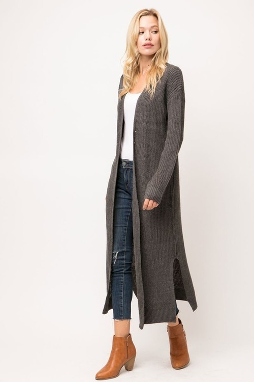 Charcoal Open Front Duster Cardigan