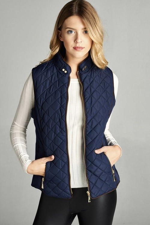 Navy Shearling Lined Quilted Vest