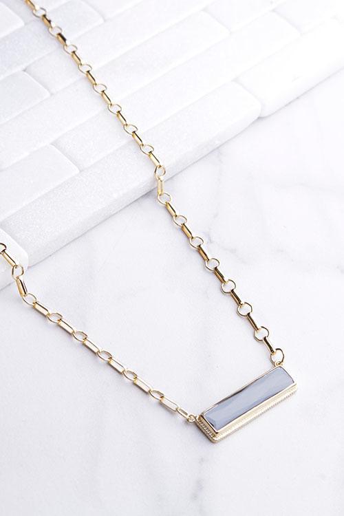 Anna Beck Hematite Bar Pendant Necklace - Gold