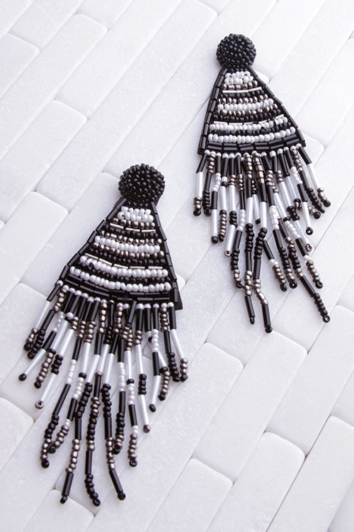 Black & White Beaded Dangle