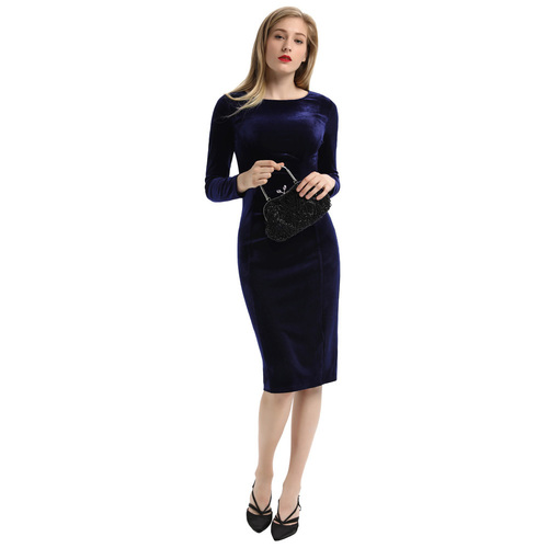 Vallens Velvet Dress (Blue or Black)