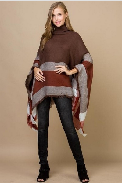 Mocha Color Block Poncho