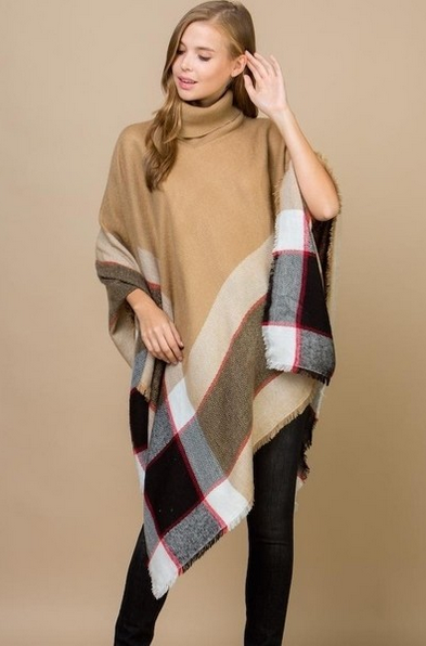 Beige Color Block Poncho