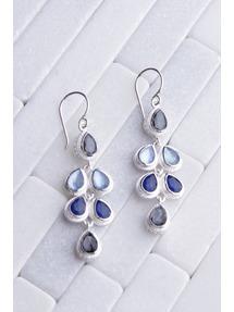 Anna Beck Hematite & Sapphire Drop Earring - Silver