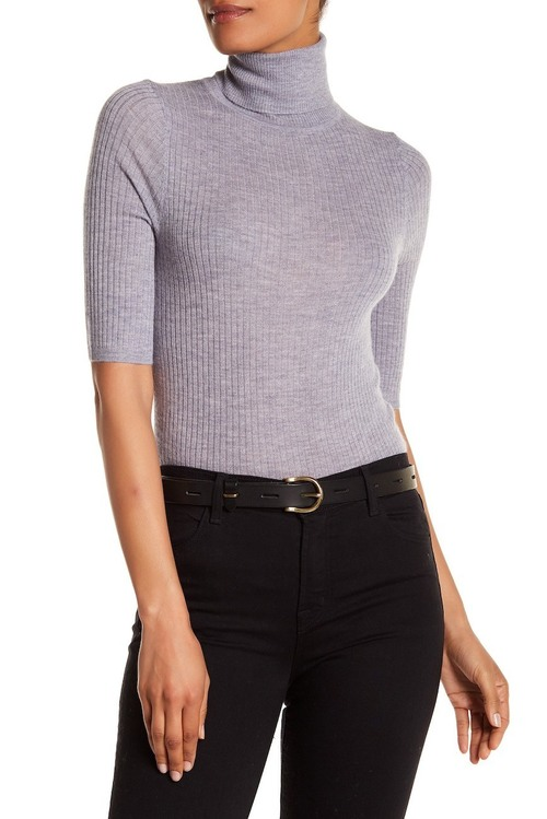 Cai Turtleneck Short Sleeve Cashmere Sweater