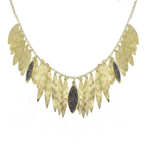 18K Gold Plated Narrow Leaf Bib with Druzy Accents