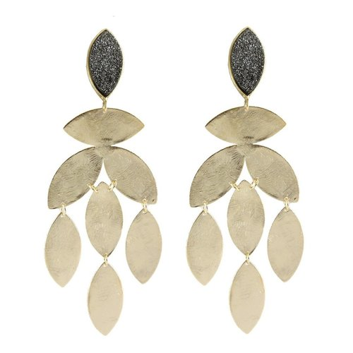 18K Gold Plated Chandelier Earrings with Druzy Post