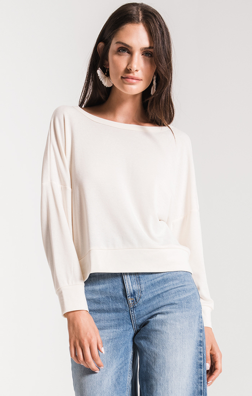 Yasmin Pullover Open Back Knit Top Winter White