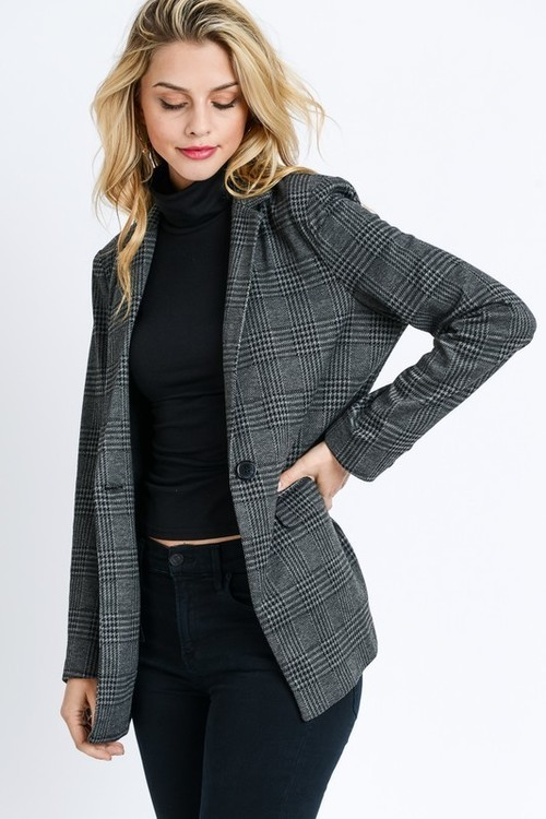 Black Plaid Button Front Blazer