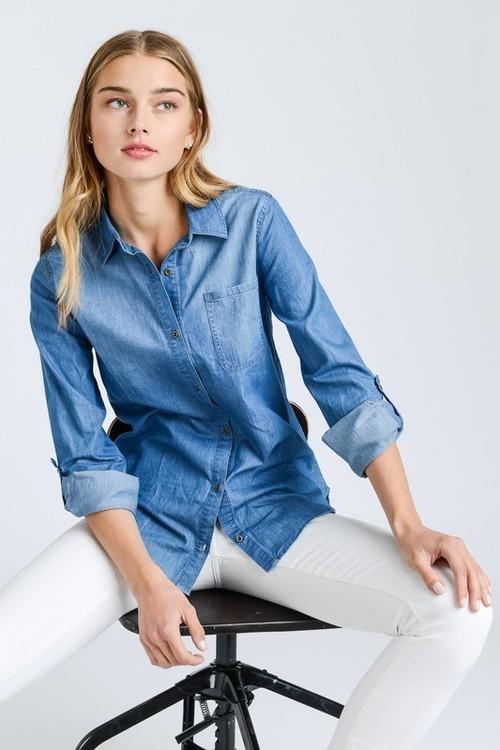 Tencel Denim Roll Sleeve Shirt