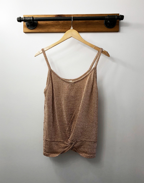 Metallic Fabric Tank Top With Front Knot