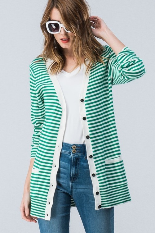 Green Stripe Long Cardigan
