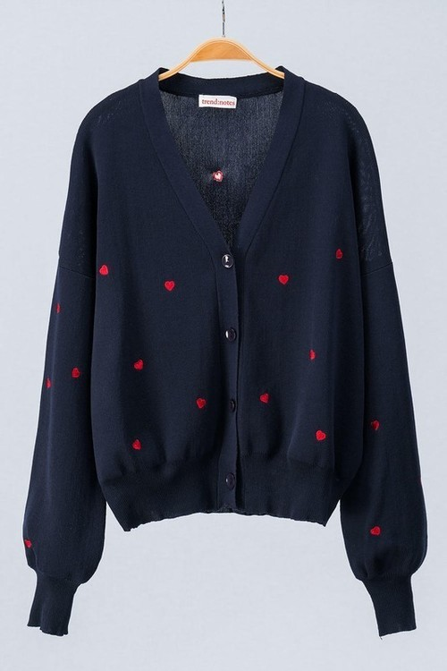Heart Embroidered Button Down Cardigan