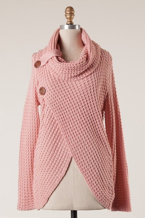 Surplice Cowl Neck Double Button Sweater