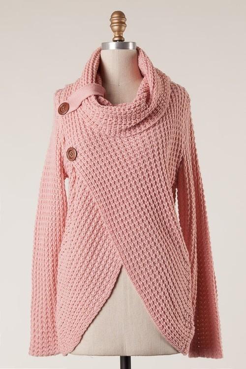 Surplice Cowl Neck Double Button Sweater