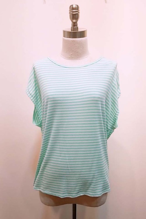 Mint Striped Twisted Back Tee