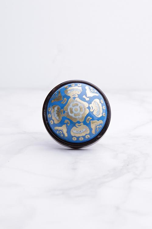 Blue Gold Inlay Knob