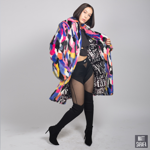 Multi-color Faux Fur Coat