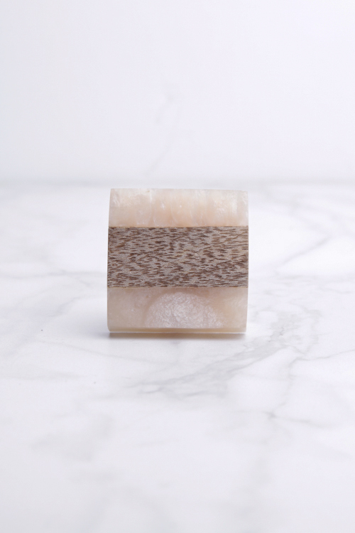 Wood/Peach Resin Sq. Knob