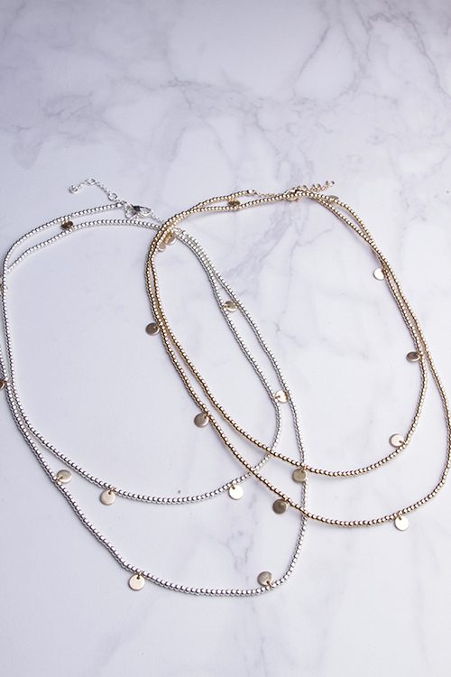 Long Beaded Disc Necklace