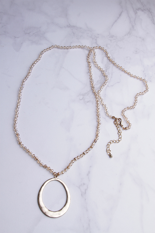 Champagne Bead O Pendant Necklace