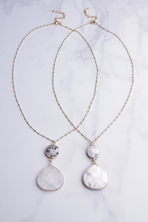 Double Drop Stone Necklace
