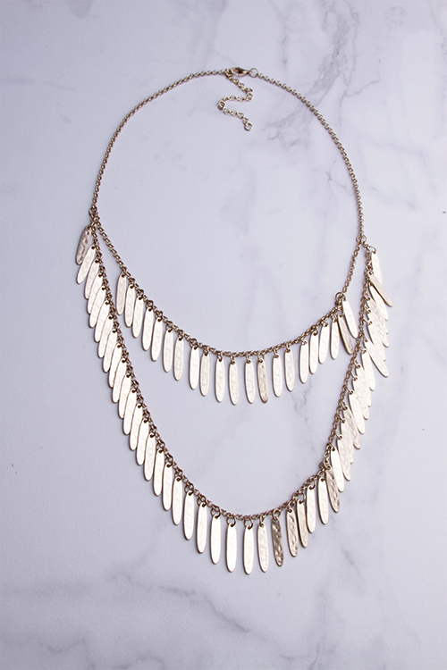 Gold Hammered Fringe Layered Short Necklace