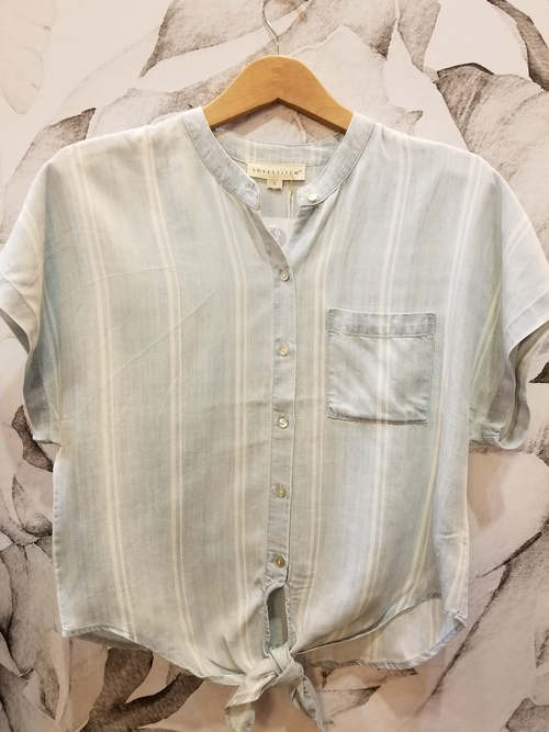 Tie Front Denim Stripe Shirt