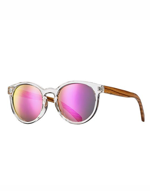 Andiz Polarized Clear Zebra Wood Pink Mirror Sunglass