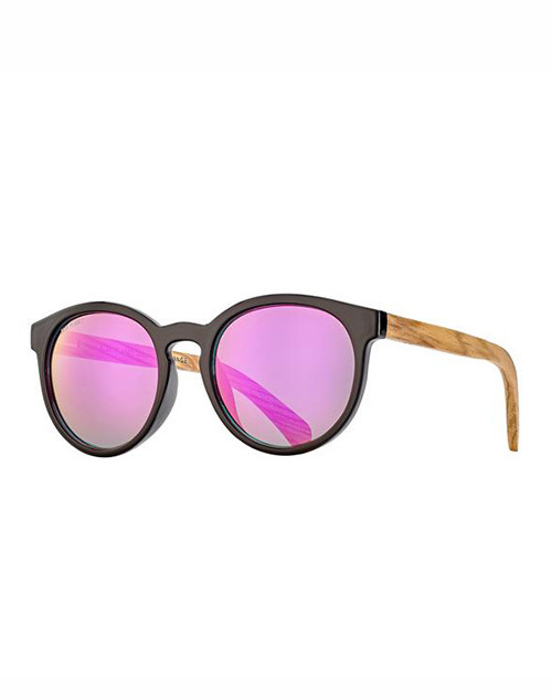 Andiz Black Zebra Wood Pink Mirror Sunglass