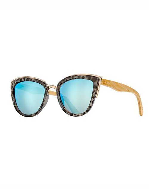 Bailey Snow Leopard Ice Blue Mirror Sunglass