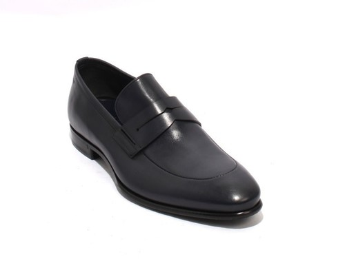 Dark Navy Leather / Elastic / Loafers Shoes