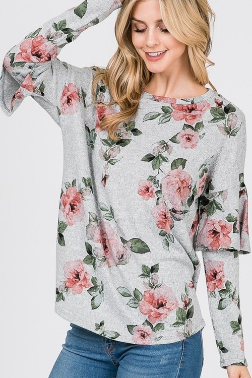 Floral Tunic Ruffle Sleeve