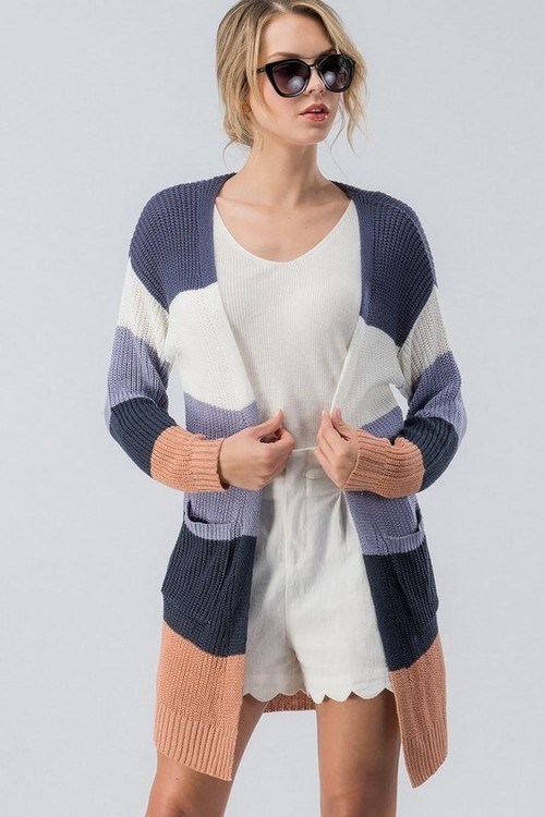 Violet Color Block Cardigan