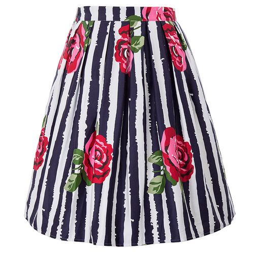 Trinity Skirt in Striped Rose