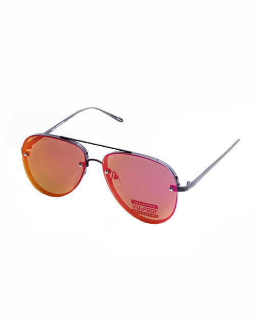 Rimless Aviator Mirror Lens Sunglass