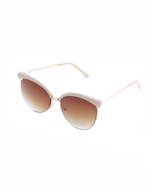 Cream Rose Gold Gradient Brown Lens Sunglass