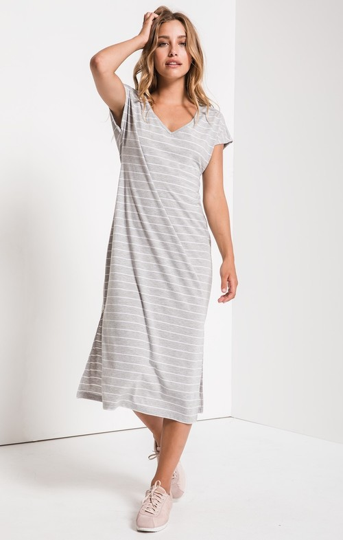 Grey Stripe Midi Drop Dress