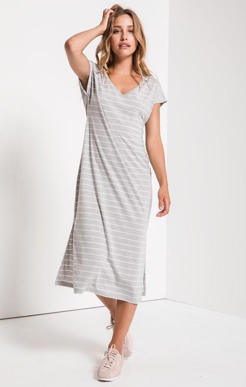Grey Stripe Midi Drop Dress